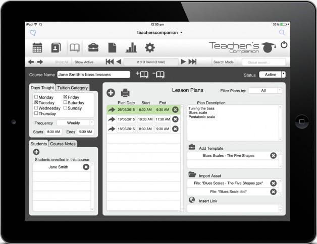 Teachers Companion - Courses module using FileMaker Go on iPad